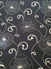 8 Mts Sophia Black & White Poppy Floral Black & White Cotton Curtain Fabric