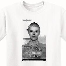 David Bowie's 1976 Mugshot - T-Shirt - MEN'S White Tee - RIP -