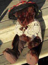 "VINTAGE TEDDY BEAR 24"" OOAK SOFT FUR ARTIST DOLL SHAWL ANTIQUE PIN HAT MINK  ?"