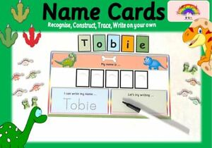 Dinosaur - Recognise,Trace, Write, Spell & Construct NAME CARD -Wipe clean +pen