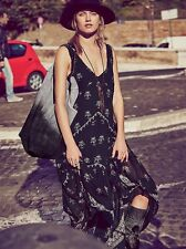 Spell FREE PEOPLE FP Small S 4 One Aphrodite Gauzy INDIA Maxi BLACK Dress Gypsy