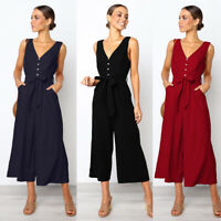 Women V neck Playsuit Ladies Fashion Party Summer Romper Loose Wide Leg Jumpsuit