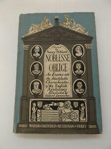 1956 NOBLESSE OBLIGE 1st Ed. by Alan S.C. Ross ILLUSTRATED by Osbert Lancaster
