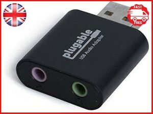Plugable USB Audio Adapter with 3.5mm Speaker/Headphone and Microphone Jacks HS