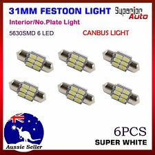 6x Festoon 31mm LED Light Error Free Car Interior Dome Map Read Roof Bulb White