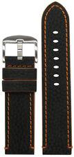 26mm Panatime Black Crushed Leather Grain Watch Band w Orange Stitching & Siding