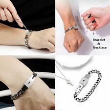 Sets Couple Titanium Steel Lock Bangle Bracelet & Key Pendant Necklace Love Gift