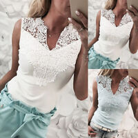 Women's Sleeveless V-Neck Lace Crochet T-Shirt Summer Casual Tank Top Blouse US