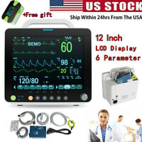 "Portable 12""Vital Signs Patient Monitor 6Parameter ECG NIBP RESP TEMP SPO2 PR US"