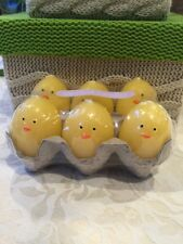 6 YELLOW CHICKS CANDLES EASTER EGGS SET BOY GIRL BABY SHOWER FAVORS CENTER PEICE