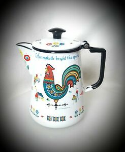 Vintage▪BERGGREN▪Swedish▪ROOSTER ENAMEL KETTLE Pot▪Weather Vane Coffee Time