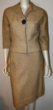 Vintage Beige Tan Woven Tweed Skirt Suit S 2 4 6 1950's 3/4 Sleeve Wool Big Btn