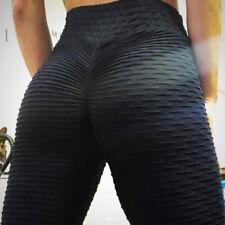 Cintura alta Fitness Leggings Pantalones Mujeres Entrenamiento Push Up sólido Pantalones