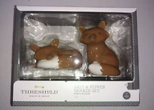 Set of Christmas Brown Fox Salt and Pepper Shakers Glass