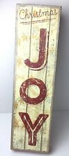"""Christmas Joy Tall Wooden Box Sign Primitive Style Gold Glitter 21"""" Red"""