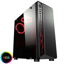 Cit Blitz Gaming Computer PC Case With 2x RGB Ring Fans Acrylic Glass Window