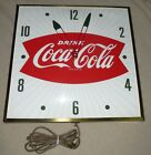 """""""Drink Coca Cola"""" ~ PAM ~15"""" Square Bowtie Wall Clock - Works!"""