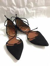 Zara Basic Collection Black Pointed  Velvet GladiatorStrap Sandals Woman Size 37