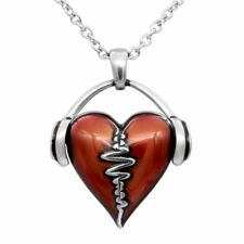 HeartBeat Necklace Headphones Music Love Red Heart Pendant Jewelry By Controse