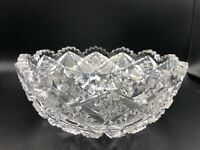 "Antique American Brilliant Period ABP Cut Glass Saw Tooth Bowl, 8"" Dia, 3 1/2"" H"