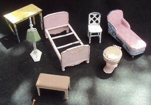 Tootsie Toy Metal Doll Furniturel 7 Piece Floor Lamp Toilet Piano Bench Chair