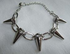 Silver Tone Spike Rivet Chain Bracelet Wristband - Punk Goth Rocker Biker