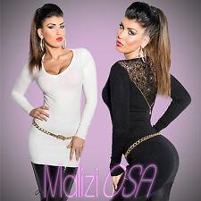 Maglione Donna Maxipull Pizzo Perline Maglia Pullover Miniabito sweater ISF8139