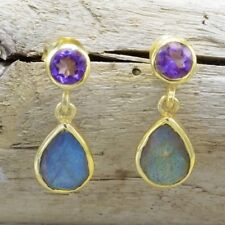 Earrings Amethyst and Labradorite Sterling Silver Gold Overlay Post Dangle