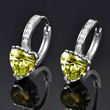 Heart Cut Peridot Green Crystal Silver Gold Filled Women Lady Hoop Earrings BOX