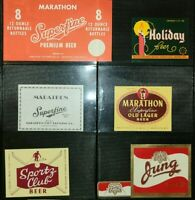Marathon Beer Labels Wisconsin Vtg Lot of 5 + 1 Jung Label