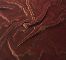 "Hand Painted Silk Velvet Fabric - Antique Gold on Ruby Red Fat 1/4 18""x22"""