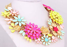 Fashion Crystal Statement Ethnic pendant Gold Chain Choker Flower Necklaces 72