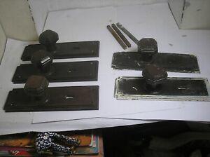 5 x Art Deco Bakelite Octagonal door handles with back plate spindle