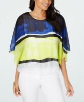 MSRP $70 Alfani Colorblocked Wing-Sleeve Bubble-Hem Blouse, Size XL