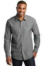 NWOT Port Authority GREY Slub Chambray UNTUCKED DRESS Shirt SZ:4XL 4X