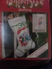 Vintage Needlepoint Christmas Stocking Peppermint Mouse by Wonder Art