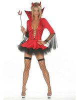 Ladies Halloween Red Black Devil Vampire Fancy Dress Costume + Horn + Fork