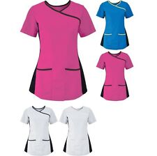 Ladies Women Alexandra Uniform Beauty Salon Stretch Scrub Top (NF43)