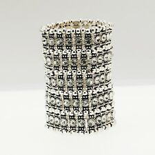 Bracelet Cuff 5 Row Silver Elastic Crystal white Marriage Retro CT10