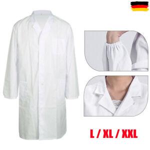 Herren Damen Weiß Laborkittel Ärztemantel Labormantel Arbeitskittel L/XL/XXL