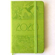 Taschenkalender 2020 Planer Timer Kalender A6, Motiv: Blumen, Vogel, grün