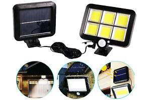 Faretto lampada solare 120Led esterno luce fredda sensore movimento crepuscolare