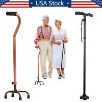 LED Adjustable Medical Walking Cane Stick Mobility Quad Cane Small Base Walker