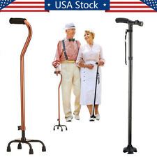 LED Adjustable Medical Walking Cane Stick Mobility Quad Cane Small Base Walker