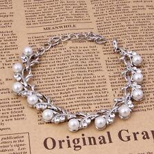 Women Wedding/Bridal pearl &crystal jewelry Silver Plated Bracelet set A3002K