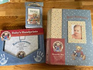 "Blue Jean Teddy Baby's Keepsake Box 11.75"" x 9.25"" x 2.75"" Photo Album Handprint"