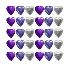 100 CADBURY CHOCOLATE PURPLE MAUVE AND SILVER HEARTS-WEDDING FAVOURS PARTIES