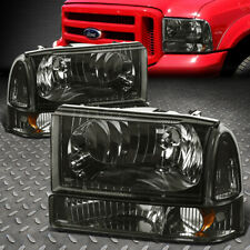 For 99-04 Ford F250 F350 Super Duty Smoked Housing Amber Corner Headlight Lamps
