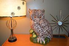 "HUGE 20"" X 16"" CERAMIC WISE OWL ATOP A LIMB MID CENTURY MODERN VERY LARGE RARE"