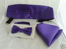 <TOP> Shiny PURPLE Polyester Bow Tie + Cummerbund and Hankie Set>over 60 Colours